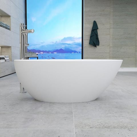 """Vanity Art 68.5"""" Freestanding Acrylic Bathtub Modern Stand Alone Soaking Tub with Chrome Finish Slotted Overflow & Pop-up Drain"""