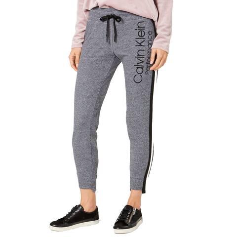 Calvin Klein Performance Women's Varsity-Stripe Step-Hem Joggers, (Grey Large)