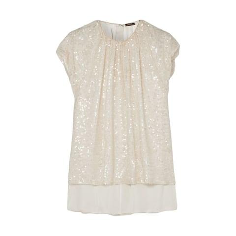 Adam Lippes Womens Beige Short Sleeve Jewel Neck Evening Top Size 0