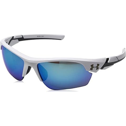 Under Armour Youth Windup Wrap Sunglasses - Shiny White / Gray With Blue Mirror
