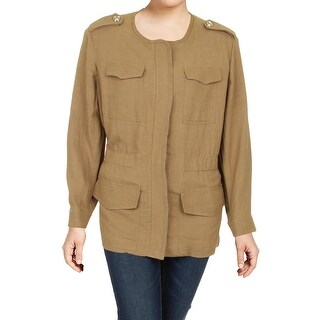 Tommy Hilfiger Womens Plus Military Jacket Textured Collarless