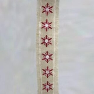 """Embroidered Red Snowflake Burlap with Fringe Ribbon 4.5"""" x 5 yards"""