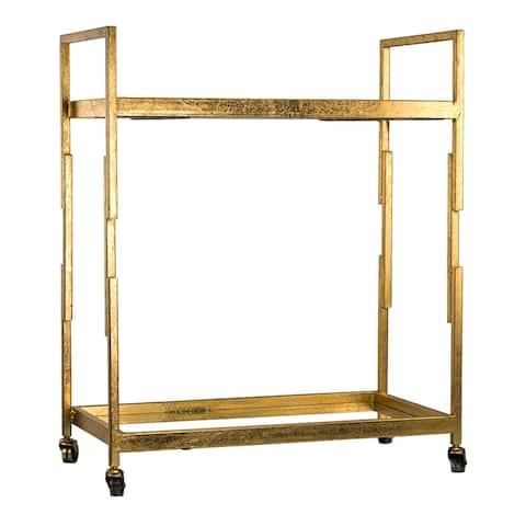 """Mid-Century Modern Bar Cart with Glass Shelves - (30"""" x 25"""" x 14"""")"""