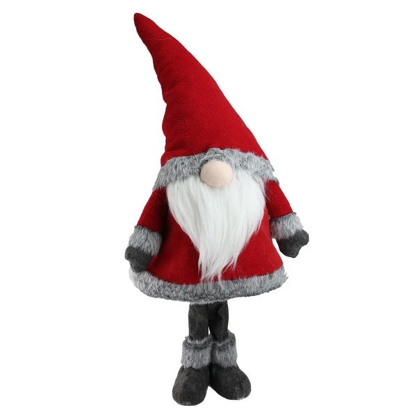 "30"" Red Standing Christmas Santa Claus Gnome with Gray Faux Fur Trim"