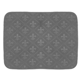 Charcoal Gray Fleur de Lis Microfiber Dish Drying Mat