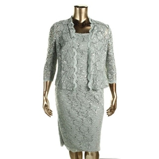 Alex Evenings Womens Petites Dress With Jacket Lace Sequined
