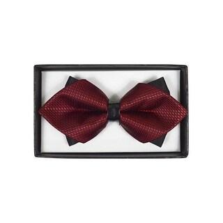 Men's Burgundy Geometric Diamond Tip Bow Tie - DBB3030-20 - Regular