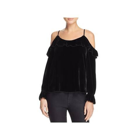 Joie Womens Alyse Dress Top Silk Blend Velvet - M