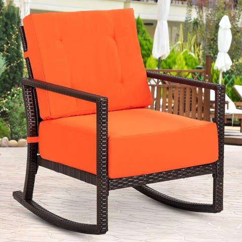 Gymax Patio Rattan Rorking Chair Rocker Armchair Outdoor Garden Furniture W/Cushions