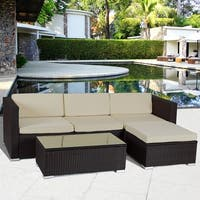 Gymax Rattan Wicker Table Shelf Garden Sofa 5 PCS Patio Furniture Set W/ Cushion Brown