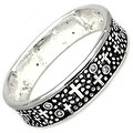 "Antique Silver Plated Cross & CZ Concave Brass Bangle - Inside Circumference: 6"" - Thumbnail 0"