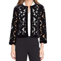 Tahari by ASL Black Womens Size 2 Lasercut Velvet Open-Front Jacket