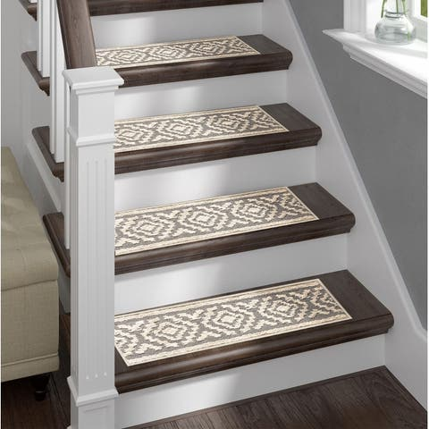 Clearance Shag Stair Treads White/Grey Non-Slip Stair Treads with double sided tape