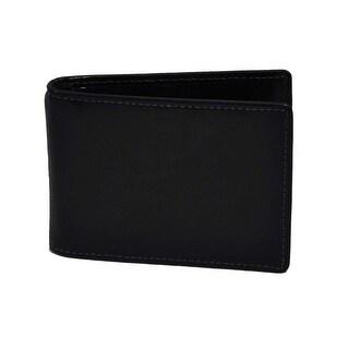 Trafalgar Mens Shiny Black Leather Wallet