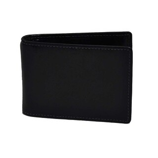 Trafalgar Mens Shiny Black Leather Wallet