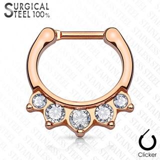 Hanging Crystals Surgical Steel Septum Clicker - 16GA (Sold Ind.) (Option: Pink)