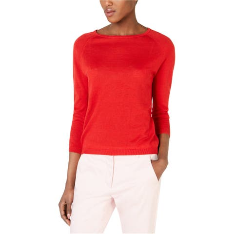 MaxMara Womens 3/4-Sleeve Pullover Sweater, Red, X-Large