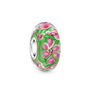 Bling Jewelry Pink Tropical Frangipani Flower Green Murano glass Lampwork Charm Bead .925 Sterling Silver