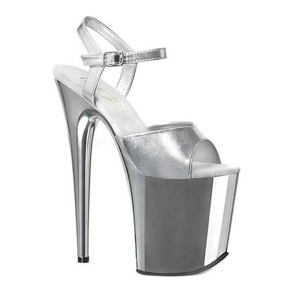 4f6de909a0 Shop Pleaser Women's Flamingo 809 Ankle Strap Platform Sandal Silver  Metallic PU/Silver Chrome - Free Shipping Today - Overstock - 18841656