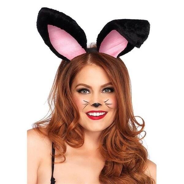 69173b726c1 Shop Black   Pink Plush Bunny Ears Adult Headband