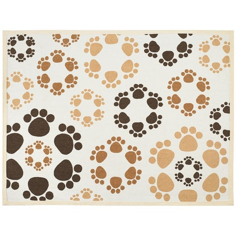 Buddy's Line Fashion Forward Pet Placemat, Brown and Tan Paws