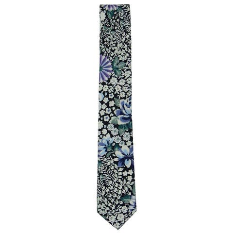 bar III Mens Floral Self-tied Necktie, blue, One Size - One Size