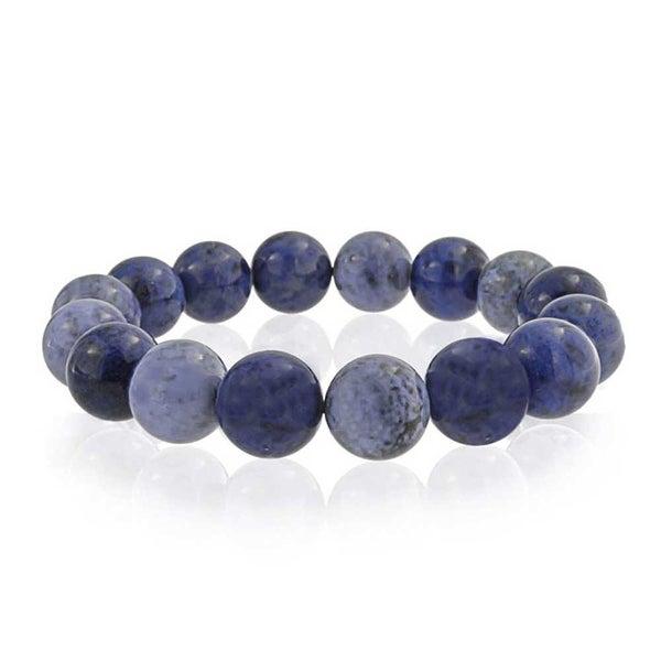 be34371c4a Bling Jewelry Round Blue Imitation Sodalite Bead Stretch Bracelet 12mm