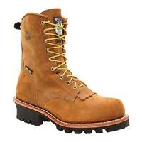"Georgia Boot Men's G93 8"" Safety Toe Insulated GORE-TEXLogger Tan Cheyenne Full Grain Leather"