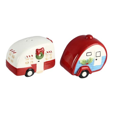 Red and White Holiday Campers Salt and Pepper Shaker Set Ceramic