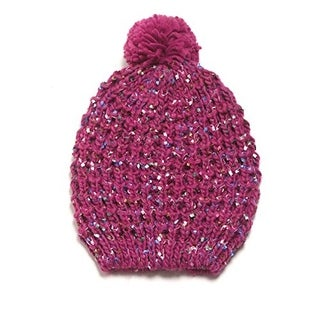 David & Young Womens Ribbon Yarn Pom Pom Beanie Hat - o/s