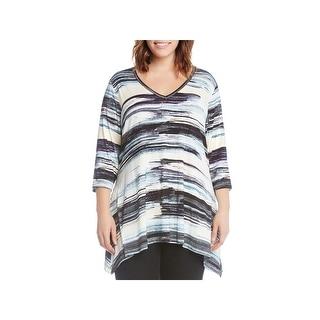 Karen Kane Womens Plus Pullover Top Printed 3/4 Sleeves