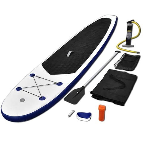 vidaXL Inflatable Stand Up Paddleboard Set Blue and White