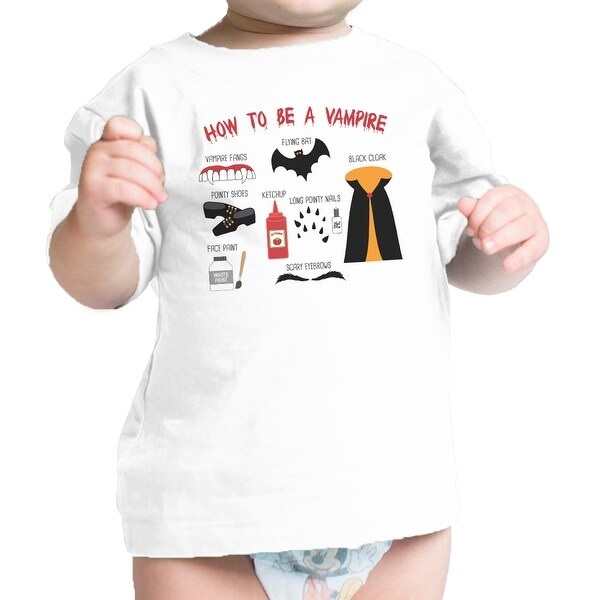 Vampire Steps White Baby Graphic T-Shirt First Halloween Baby Gifts