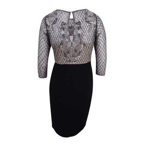 Adrianna Papell Women\'s Plus Size Embellished Lattice Dress (14W,  Lead/Black) - Lead/Black - 14W