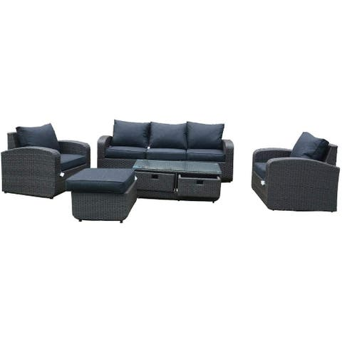 5-Piece Wicker Patio Furniture Outdoor Seating Conversation Set with Table Ottomans and Luxury Cushions - Black