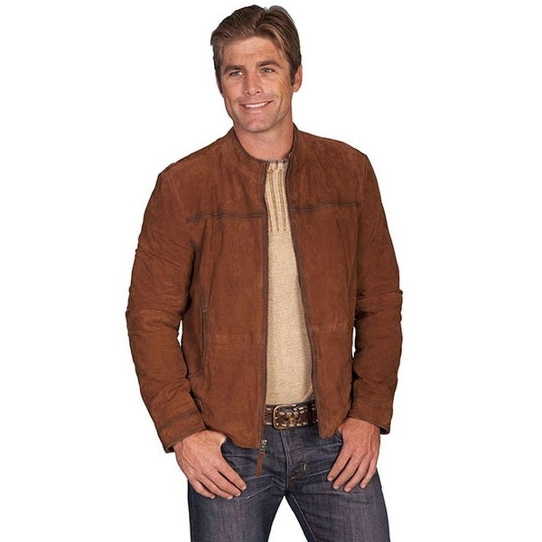 Scully Western Jacket Mens Leather Zip Pockets Cinch Pulls Bark 94-142