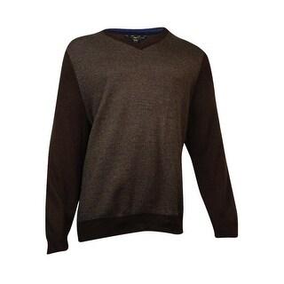 Club Room Men's Merino Wool Herringbone Jacquard Sweater (Coffee Bean, XXL) - Coffee Bean - XxL