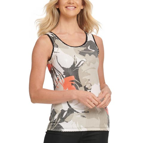 DKNY Womens Tank Top Sequined Printed - Beige Multi