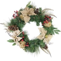 "24"" Autumn Harvest Burlap Poinsettia, Moss Ball, Mixed Pine and Berries Fall Wreath - Unlit - green"