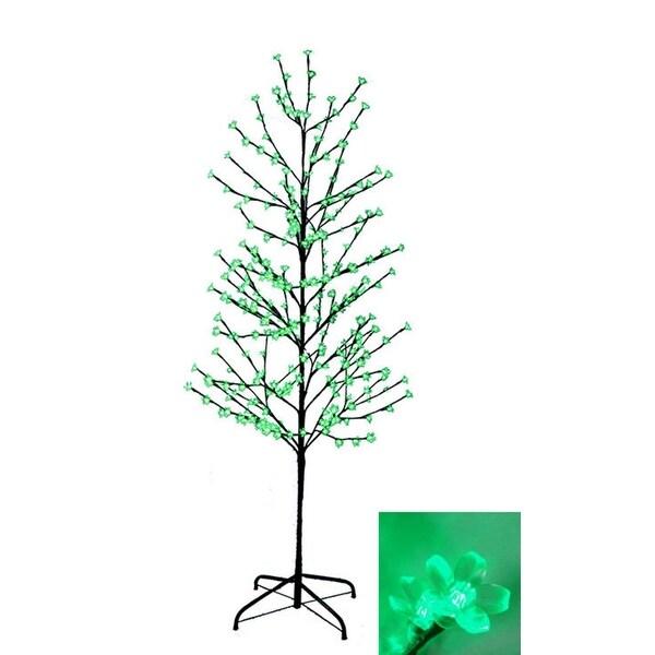 6 X27 Enchanted Garden Led Lighted Cherry Blossom Flower Tree Green Lights
