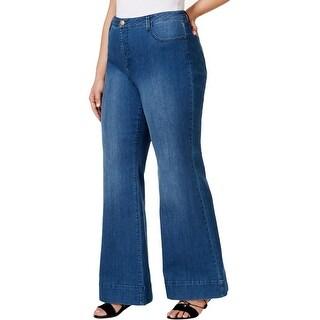 Rachel Rachel Roy Womens Plus Wide Leg Jeans Denim High-Rise