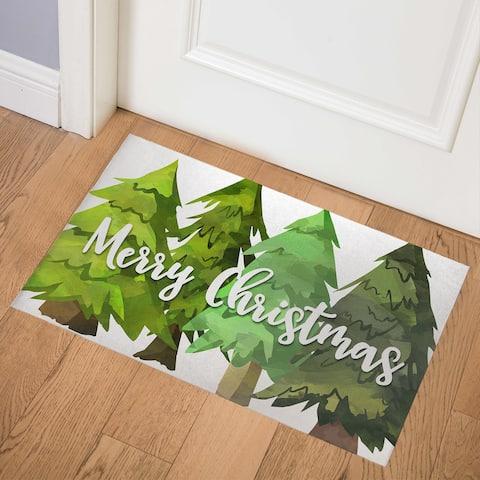 MERRY CHRISTMAS Indoor Floor Mat By Rosa Vila