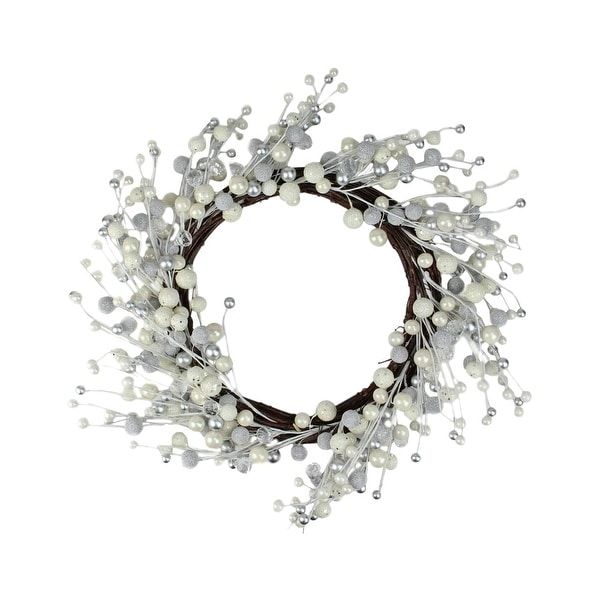 """20"""" Winter Wonderland Ivory and Silver Ball Ornaments on a Natural Vine Wrapped Wreath"""