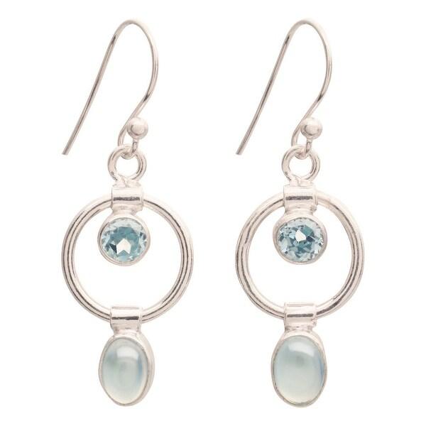 """Women's Earrings - Blue Topaz And Chalcedony In Sterling Hoops - 1 1/4"""" - Silver"""