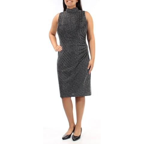 RALPH LAUREN $174 Womens New 1696 Black Silver Sleeveless Sheath Dress 14 B+B