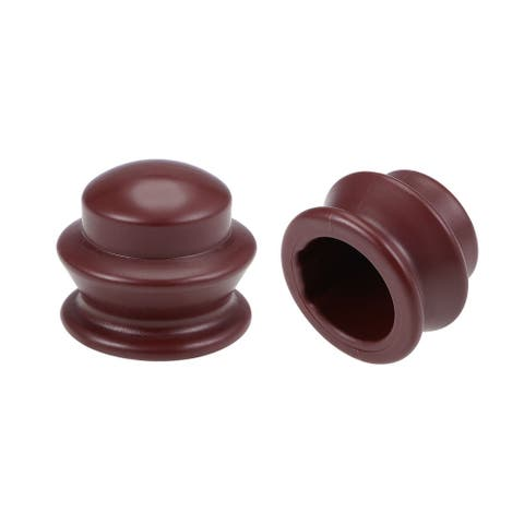 Curtain Rod Finial Plastic Cap End for 28mm Drapery Pole 37 x 43mm - Red - 8 Pack