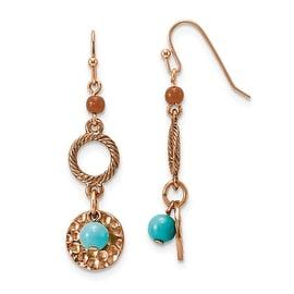 Copper Aqua & Brown Acrylic Beads Dangle Earrings