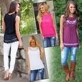 Fashion Women Summer Vest Top Sleeveless Blouse Casual Tank Tops T-Shirt Lace - Thumbnail 8