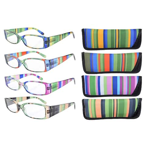 0926c0f2aa Eyekepper 4-Pack Mix Striped Temples Spring Hinge Reading Glasses