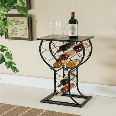 Furniture Metal with Marble Finish Top Wine Storage Organizer Display Rack Table - 12 x 15 x 33 inches